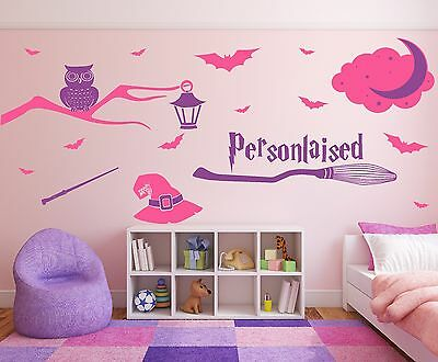 Harry Potter style wizard & magic, personalised name, bedroom wall decal sticker