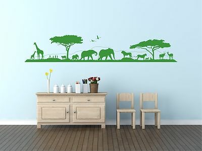 Savannah skyline, landscape wall sticker decal. Children's bedroom. Any colour.
