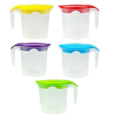 Plastic Jug with Lid 1 LT Multi Purpose for Water Juice,Party Set of 5 or Single