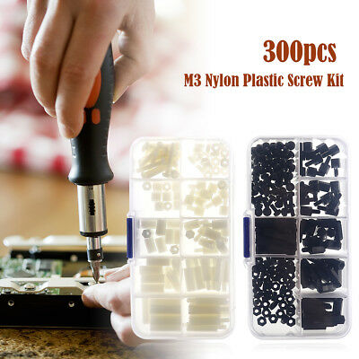 300pcs Nylon Hex M3 Spacers Screw Nut Standoff Kit Box White and Black