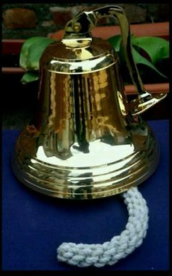 "BRASS SHIPS / PUB BELL WITH BRACKET~ 10"" inch diameter. Extra  LARGE Size"