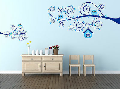 Swirly Tree Branches, Leaves, Owls & Flowers. Wall Window Decal Nursery Sticker
