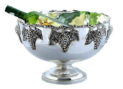 Punch Bowl ~ Silver Plated~ Ice Bucket~Champagne / Wine Cooler~ Grape ~ Bar