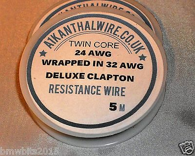 5 M Deluxe Clapton Coil Resistance Wire  Vaping RDA RTA 24/26 AWG Wrapped 32AWG