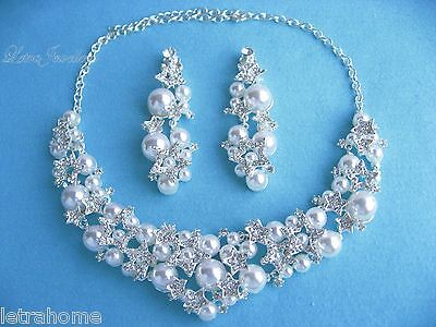 White Shell Pearl Star Adjustable Necklace Clip on Earrings Sets Present Bride