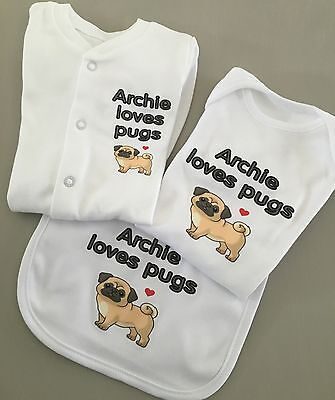 Funky PERSONALISED  PUGS Unisex baby clothing babygrow,vest,bib and hat