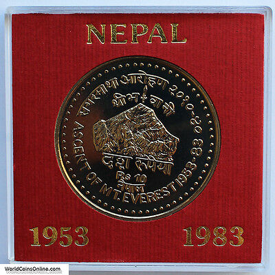 Nepal 1983 Proof 10 Rupee. Mount Everest. Only 2000 Minted. Scarce.