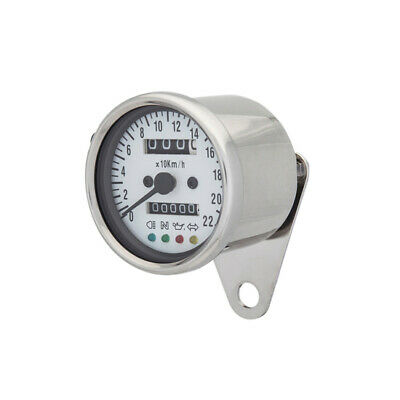 Mini Chrome LED Backlight Speedometer White Backing Cafe Racer Bobber Motorcycle