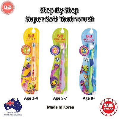 B&B Kids Step By Step Super Soft Toothbrush For Children of 0-8 Year Dental Care