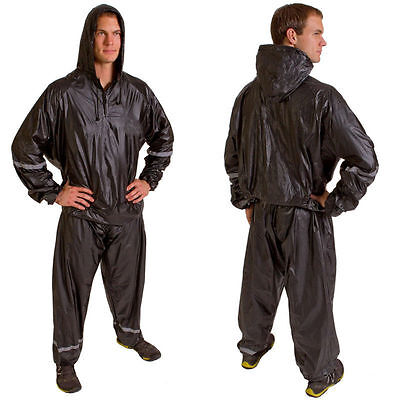 Hooded Thermal Training Sweat Suit Sauna Suit for weight loss Extral size- Black