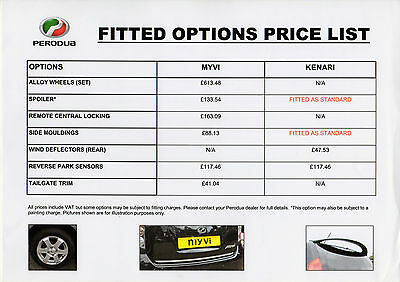 Perodua Accessories 2010 UK Market Leaflet Price List Brochure Myvi Kenari