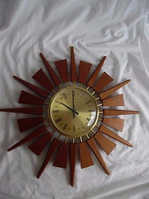 1960s Original Retro Anstey & Wilson teak and brass sunburst clock