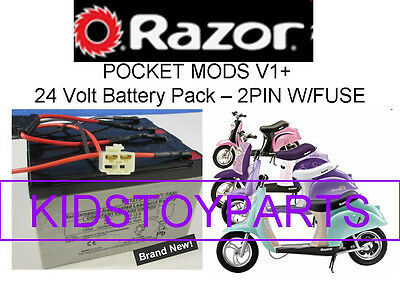 New! 24V Battery Pack for Razor POCKET MODS 2 pin w/fuse