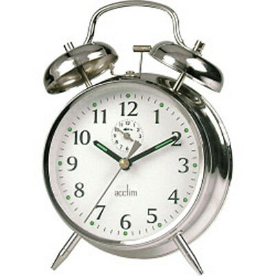 Acctim Saxon Chrome Alarm Clock Key wound