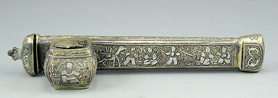 Antique Brass Islamic Ottoman Qalamdan Divit Pen Case Inlaid Silver Cooper 19th