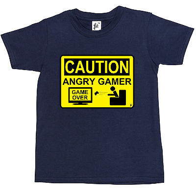 Caution Angry Gamer - Warning Sign Game Over Lost Kids Boys T-Shirt