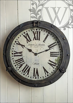 Round Iron Wall Clock French Vintage Industrial Rustic Roman Numeral Large Metal