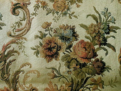 Antique French Roses Scroll Tapestry Fabric ~Tawny Rose Blue Olive Brown Caramel