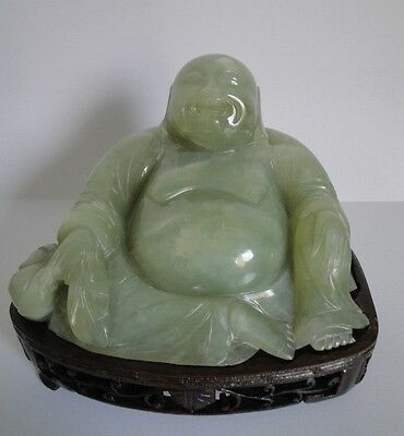 Antique Chinese Celadon Jade Buddha with Wooden Base