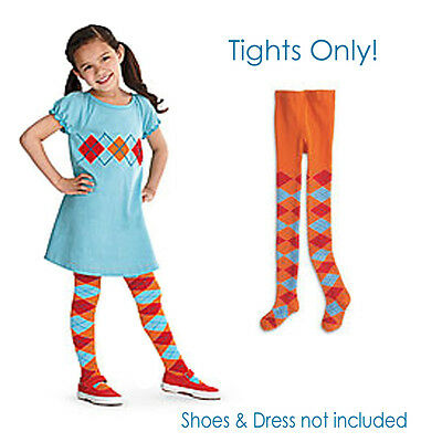 American Girl CL BITTY TWIN ARGYLE TIGHTS S/M 3-5 for Little Girls Blue Baby NEW