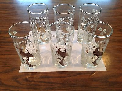 Vtg Hollywood Regency Partridge In A Pear Tree  6 Glassware Barware Highball