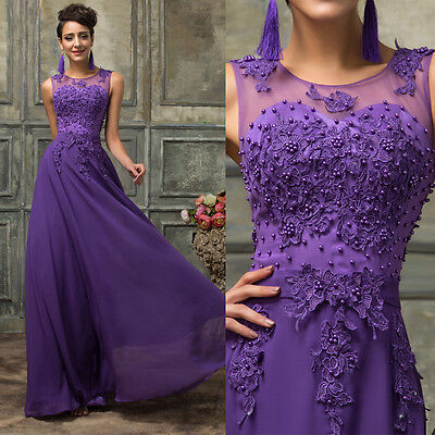 Lace Chiffon Bridesmaid Formal Gown Ball Party Cocktail Evening Prom Dress PLUS
