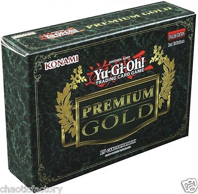 YUGIOH 2014 Premium Gold Sealed Booster Box Genuine Konami English 15 cards