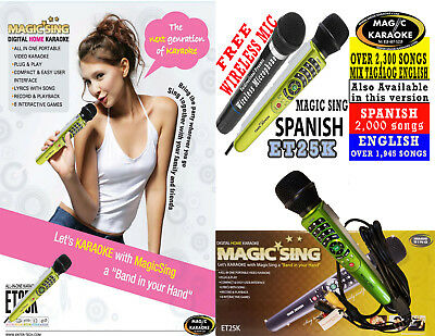 NEW  MAGIC SING ET25K SPANISH VERSION karaoke FREE WIRELESS DUET MIC