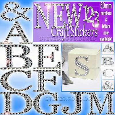 LUXURY DIAMANTE GLITTER LETTERS NUMBERS CRAFT STICKERS 5cm Large Self Adhesive