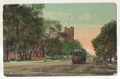 East Main Street Trolley ROCHESTER NY Vintage New York Postcard
