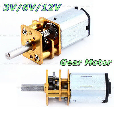 Fine N20 DC3V 6V 12V 50-2000RPM Speed Reduction Gear DC Motor w/ Metal Gearbox