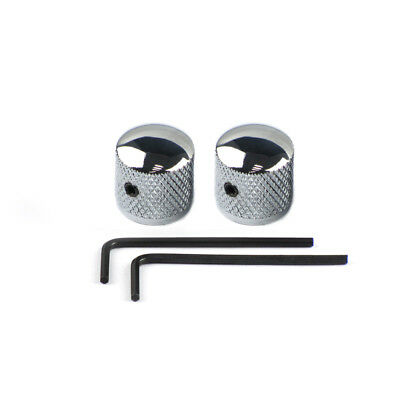 NEW 2PCS Chrome Electric Guitar Bass Knobs Metal Dome Style Knobs with Wrench