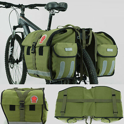 100L Waterproof Canvas Rear Seat Bicycle Bag Cycling Bike Double Pannier Handbag