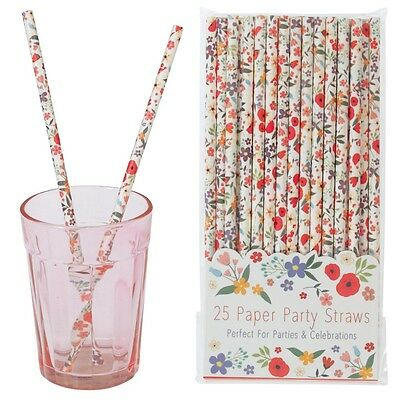 dotcomgiftshop PACK 25 SCHOOL MILK SUMMER MEADOW PAPER PARTY DRINKING STRAWS