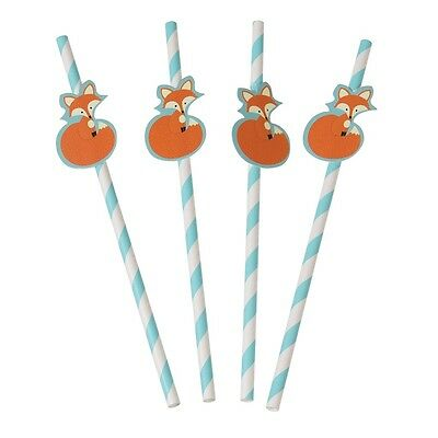 dotcomgiftshop PACK OF 4 RUSTY THE FOX PARTY STRAWS