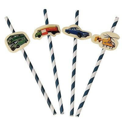 dotcomgiftshop PACK OF 4 VINTAGE TRANSPORT PARTY STRAWS