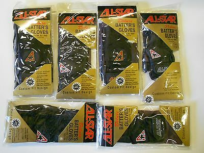NOS Lot 6 Pair All Star YOUTH Batting Gloves Small & Medium Orig Packages!
