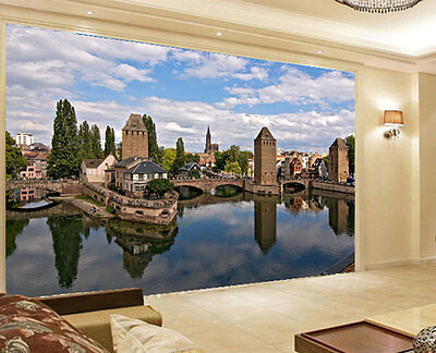 Medieval Bridge Strasbourg 3D Full Wall Mural Photo Wallpaper Printed Home Decor