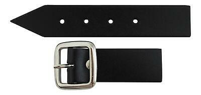 Sturdy Black Kilt Strap and Chrome Buckle with Leather Tab - 1 Inch (3cm) Wide
