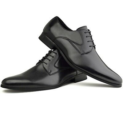 Mens Leather Shoes Black Brown Lace up Casual Formal Dress Work High Top
