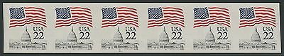 #2115f 22¢ FLAG IPERF ERROR STRIP OF 6 WITH PLATE NO. 11 WLM518