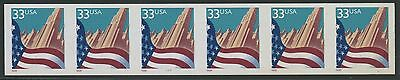 """#3281a IMPERF ERROR """"33¢ FLAG"""" STRIP OF 6 WITH PLATE NO. 7777 WLM521"""