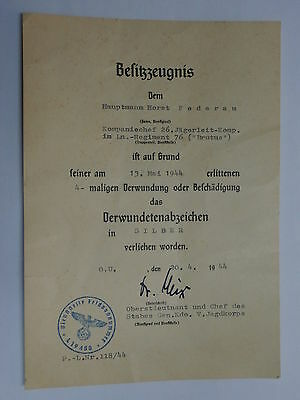 German, WWII Document for Wounded Badge in Silver (Hauptmann Horst Federau 1944)