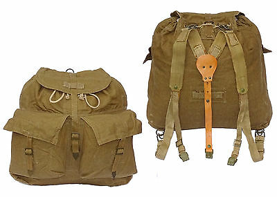 1950/80s Vintage Army Backpack Khaki Olive Canvas Rucksack Harness Hiking Retro
