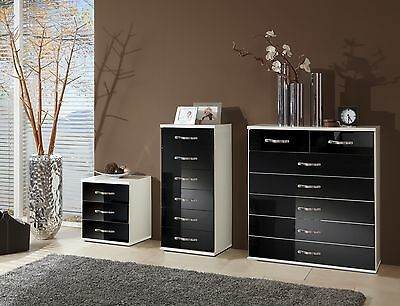 SlumberHaus German Trio Bedside Cabinet & Chest of Drawers White & Black Gloss