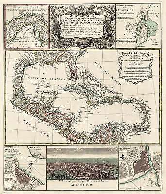 HJB-AntiqueMaps : 1740 Map of the Caribbean by Heirs