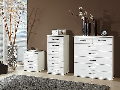 SlumberHaus German Trio Bedside Cabinet & Chest of Drawers White Gloss