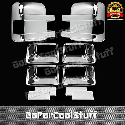 FOR FORD F-250/350 08-16 4 DOOR handle w/o PSKH+Telescopic mirror CHROME COVERS