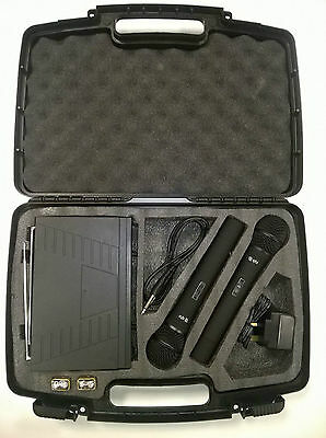 QTX Dual Handheld VHF VH2 Pro Microphone System in Carry Case 173.8 - 174.8Mhz