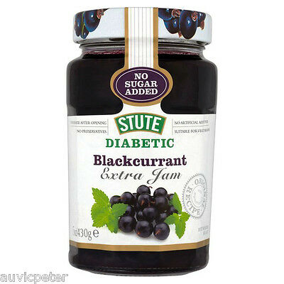 Stute Diabetic Blackcurrant Extra Jam 430g, No Sugar Added, No Preservatives